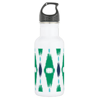 Bold geometric green and navy tribal ikat print water bottle