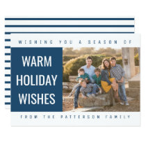 Bold Geometric Holiday Photo Card | Blue