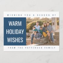 Bold Geometric Holiday Photo Card | Blue