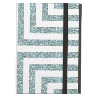 Bold Geometric Lines in Solid Blue Glitter Cover For iPad Air