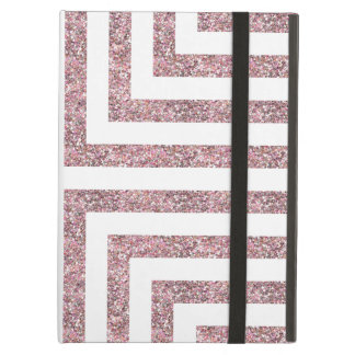 Bold Geometric Lines in Solid Pink Glitter Case For iPad Air