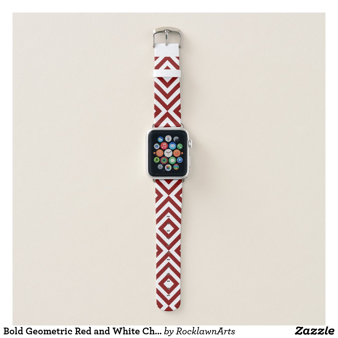 Bold Geometric Red and White Chevrons, Diamonds Apple Watch Band