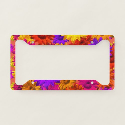 Bold Girly Hippie Flowers Cool Fun Girly Eighties License Plate Frame
