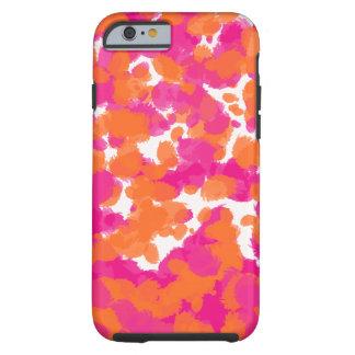 Bold Girly Hot Pink Fuchsia Orange Paint Splashes Tough iPhone 6 Case