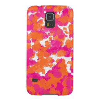 Bold Girly Hot Pink Fuchsia Orange Paint Splashes Galaxy S5 Cover