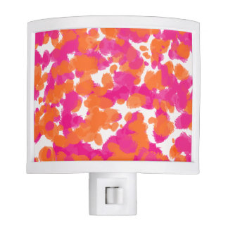 Bold Girly Hot Pink Fuchsia Orange Paint Splashes Night Lights