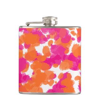 Bold Girly Hot Pink Fuchsia Orange Paint Splashes Hip Flask