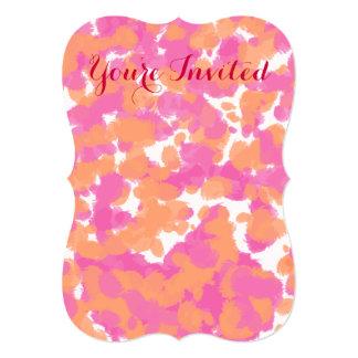 Bold Girly Hot Pink Fuchsia Orange Paint Splashes 5x7 Paper Invitation Card