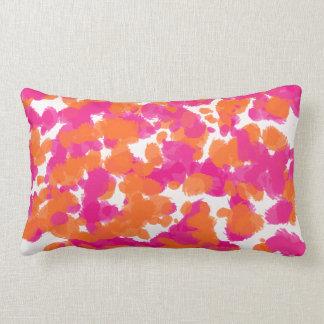 Bold Girly Hot Pink Fuchsia Orange Paint Splashes Throw Pillows