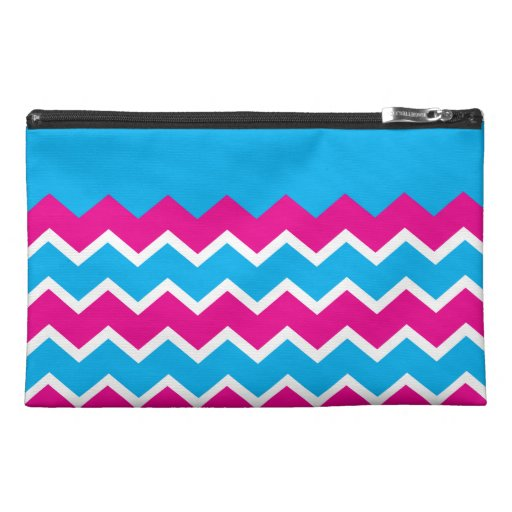 Bold Girly Hot Pink Teal Chevron ZigZag Pattern Travel Accessories Bags