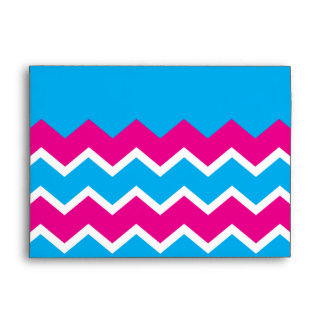 Bold Girly Hot Pink Teal Chevron ZigZag Pattern Envelope