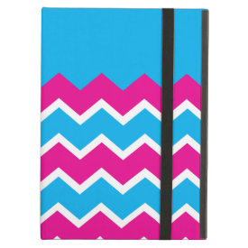 Bold Girly Hot Pink Teal Chevron ZigZag Pattern iPad Folio Case