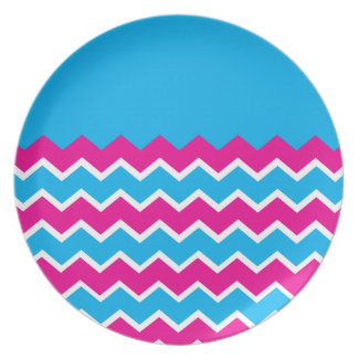 Bold Girly Hot Pink Teal Chevron ZigZag Pattern Melamine Plate