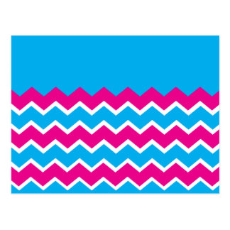 Bold Girly Hot Pink Teal Chevron ZigZag Pattern Postcard