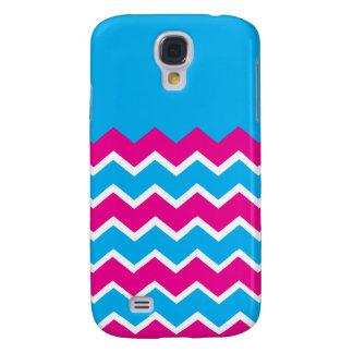 Bold Girly Hot Pink Teal Chevron ZigZag Pattern Samsung S4 Case