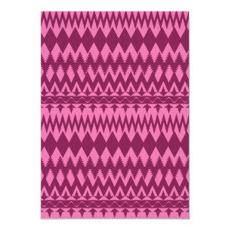 Bold Girly Magenta Pink Chevron Tribal Pattern 5x7 Paper Invitation Card