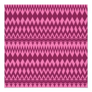 Bold Girly Magenta Pink Chevron Tribal Pattern Invitation