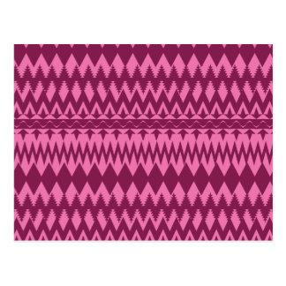 Bold Girly Magenta Pink Chevron Tribal Pattern Postcard