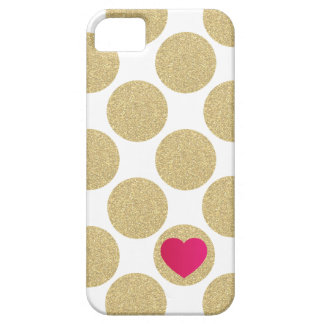 Bold Glitter Gold Dot With Heart and Custom Color iPhone 5 Case