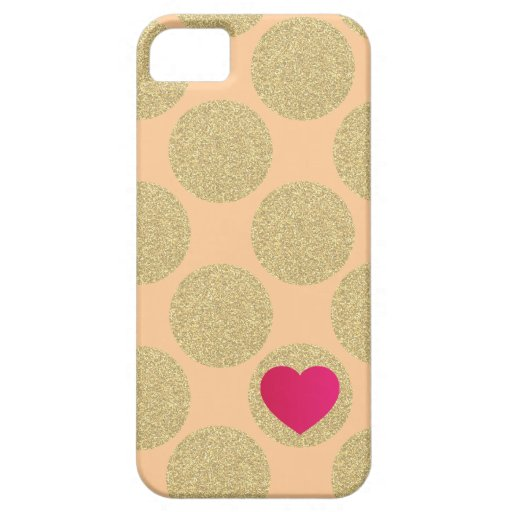 Bold Glitter Gold Dot With Heart and Custom Color iPhone 5 Covers