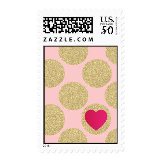 Bold Glitter Gold Dot With Heart and Custom Color Postage