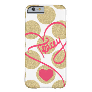 Bold Glitter Gold Dots Heart and Handwritten Name Barely There iPhone 6 Case