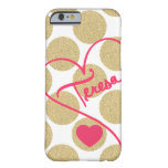 Bold Glitter Gold Dots Heart and Handwritten Name iPhone 6 Case