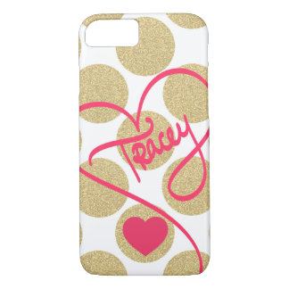 Bold Glitter Gold Dots Heart and Handwritten Name iPhone 7 Case