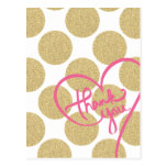 Bold Glitter Gold dots with Thank You Design Post Cards
