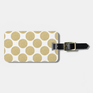 Bold Glitter Gold Polka Dots Luggage Tag