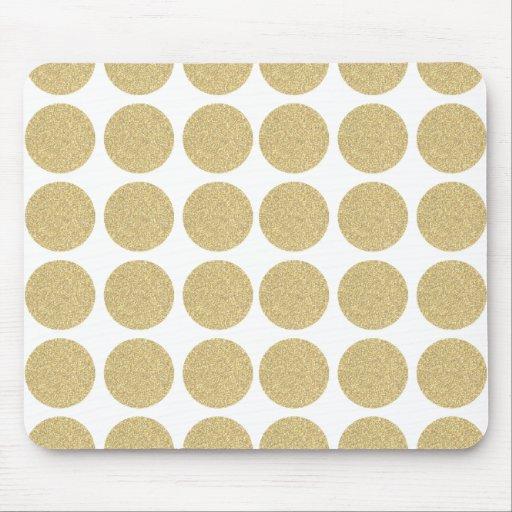 Bold Glitter Gold Polka Dots Mouse Pad