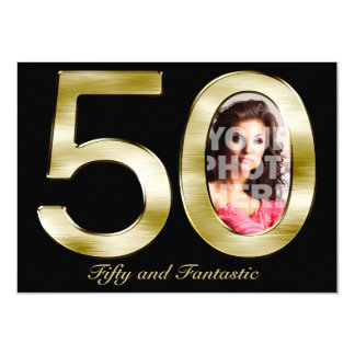 Bold Gold 50th Photo Birthday Party Invitation