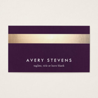 Bold Gold Colored Striped Modern Purple Chic 2 Business Card