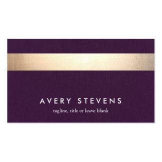 Bold Gold Colored Striped Modern Purple Chic 2 Double-Sided Standard Business Cards (Pack Of 100)