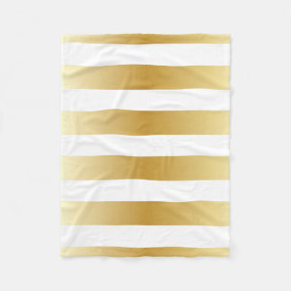 Bold Gold Metallic Stripes Pattern Fleece Blanket
