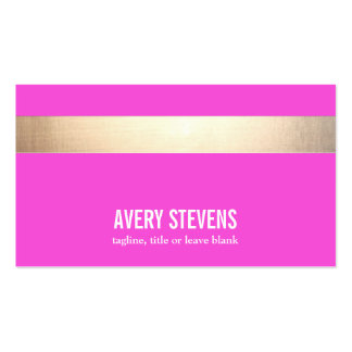Bold Gold (no shine) Striped Modern Hot Pink Double-Sided Standard Business Cards (Pack Of 100)