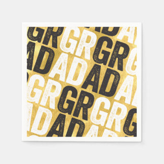 Bold Grad Chic Gold Graduation Party Paper Napkin
