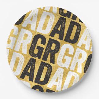 Bold GRAD Chic Gold Graduation Party Paper Plates