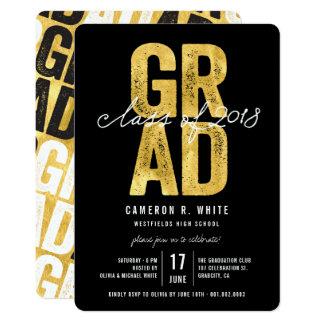 Bold GRAD Gold Foil Class of 2018 Party Invite