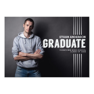 Bold Graduate   White Text Photo Graduation Party 5x7 Paper Invitation Card