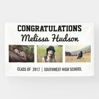 Bold Graduation Congratulations Three Photo Banner