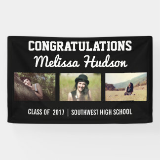 Bold Graduation Congratulations Three Photo Black Banner