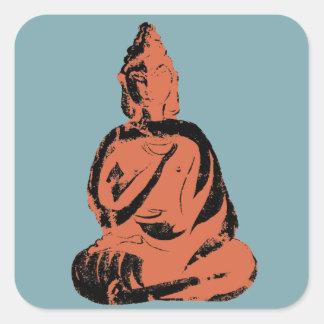 Bold Graphic Buddha Deity Blue Orange Vintage God Square Sticker