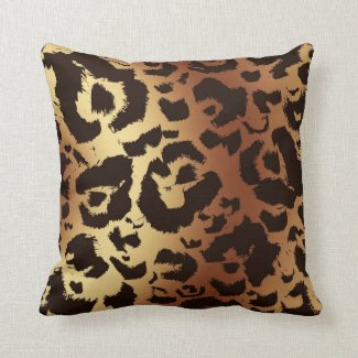 Bold Graphic Wild Cat Print Gradient Background Throw Pillow