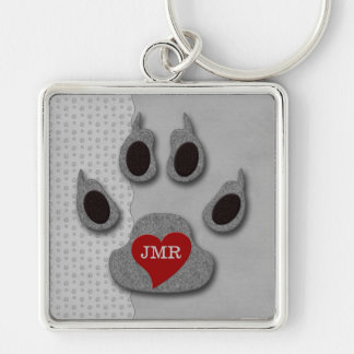 Bold Gray Dog Paw with Red Heart Monogram Keychain