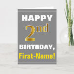 [ Thumbnail: Bold, Gray, Faux Gold 2nd Birthday W/ Name Card ]