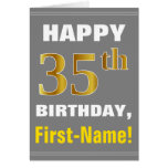 [ Thumbnail: Bold, Gray, Faux Gold 35th Birthday W/ Name Card ]