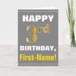 [ Thumbnail: Bold, Gray, Faux Gold 3rd Birthday W/ Name Card ]