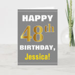 [ Thumbnail: Bold, Gray, Faux Gold 48th Birthday W/ Name Card ]
