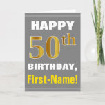 [ Thumbnail: Bold, Gray, Faux Gold 50th Birthday W/ Name Card ]